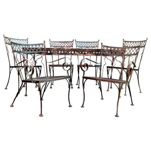 Gothic Modern style Wrought Iron Patio Table and Chairs