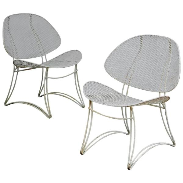 Wrought Iron Clam Shell Chairs by Homecrest