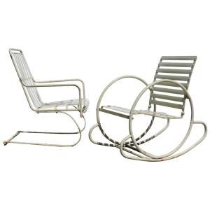 Art Deco Streamlined Slatted Iron Chairs