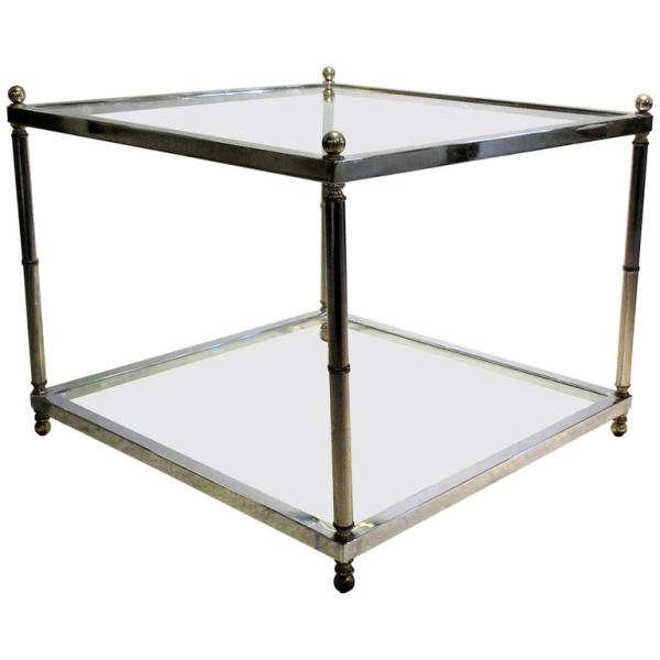 Maison Jansen style Chrome Steel and Brass Coffee Table