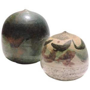 Studio Ceramic Raku Weed Pot Vases by Nancy Jurs - 1970's