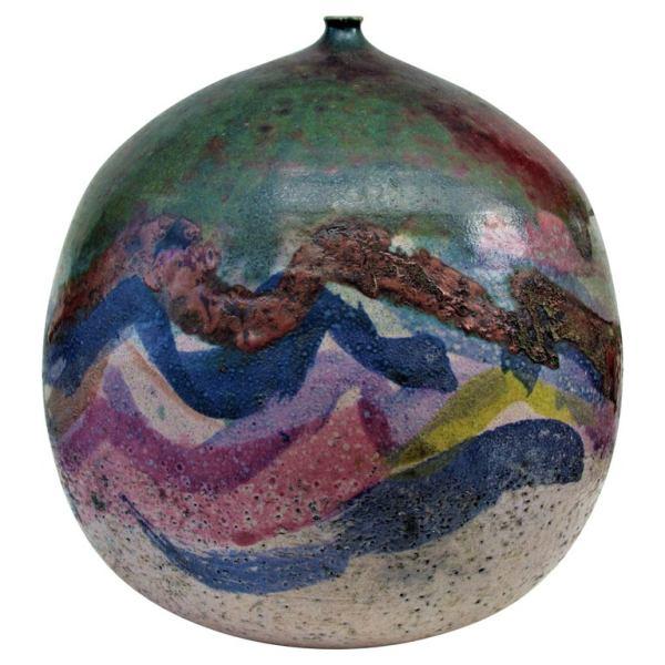 Large Raku Weed Pot Vase by Nancy Jurs