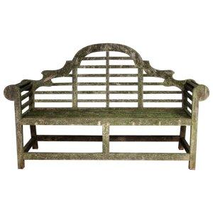 Vintage Lutyens style Teak Garden Bench with Lichen Growth