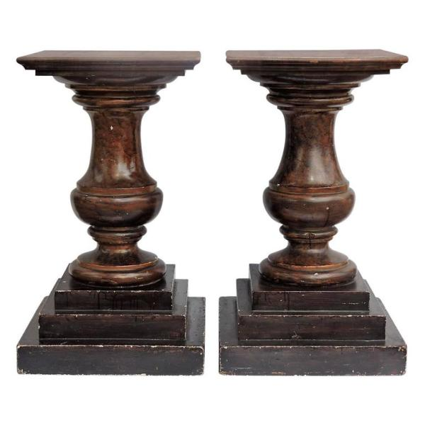 Marbleized Baluster Form Pedestals 19th Century