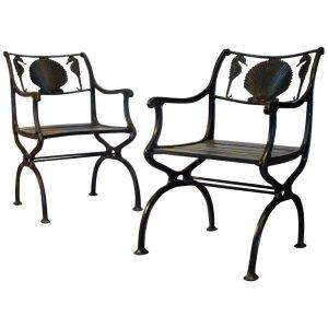 Seahorse & Scallop Shell Cast Iron Garden Chairs circa 1930