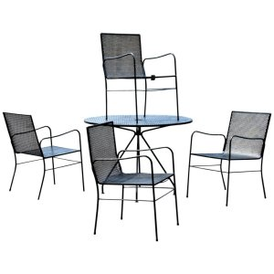 Iron Mesh Table & Chairs in the style of Mategot