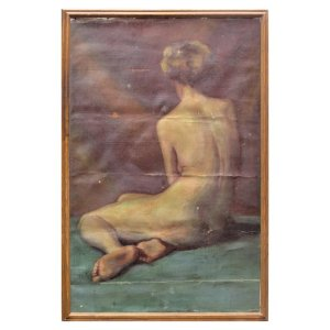 Early 20th Century Oil Painting on Canvas of Nude Woman