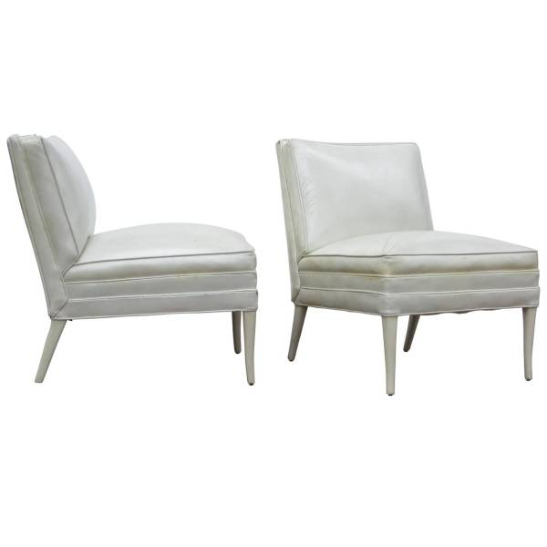 Tommi Parzinger White Leather Lounge Chairs