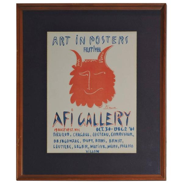 Picasso Lithograph Exhibition Poster - AFI Gallery - 1961
