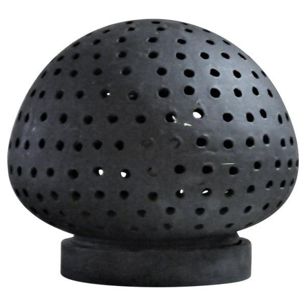 Pierced Black Ceramic Illuminating Sphere Lamp 1960's
