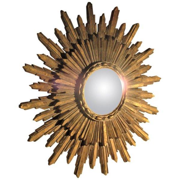 Gilded Plaster Sunburst Mirror