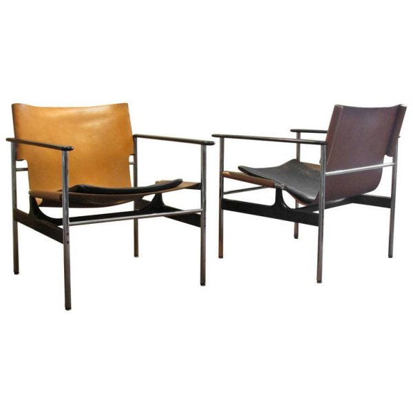 Charles Pollock Leather & Chrome Sling Chairs for Knoll