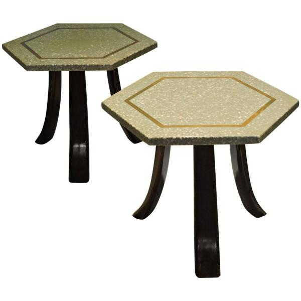 Mid 20th Century Hexagon Terrazzo Top Tables by Harvey Probber