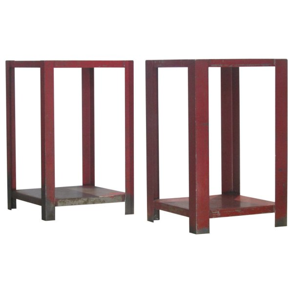 Old Red Painted Steel Industrial Side Tables