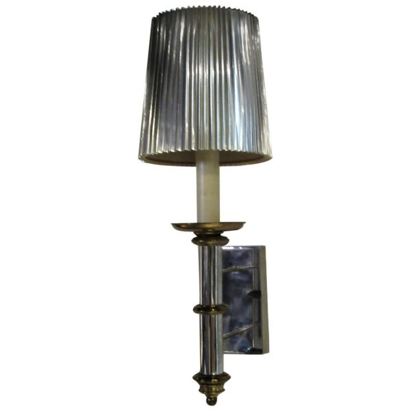 Hollywood Regency Chrome Steel & Brass Wall Light