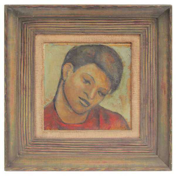 Mexican Modernist Painting of a Boy in style of Diego Rivera