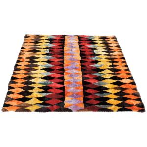 Modernist Eye Dazzling Geometric Design Dyed Sheepskin Rug