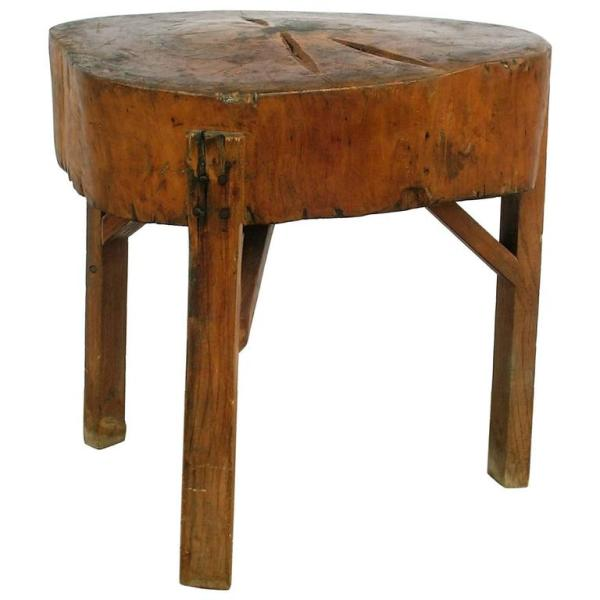 19th Century Primitive Organic Form Butcher Block Table