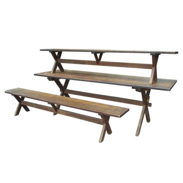 Antique American Sawbuck Table & Benches