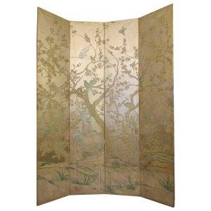 1940's Silver Leaf Wallpaper Floor Screen