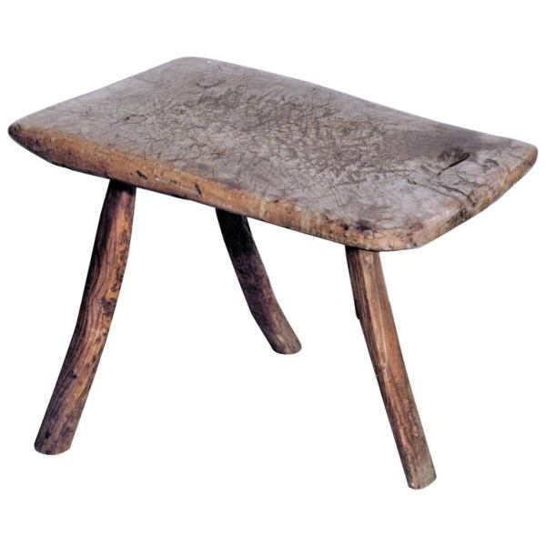 Early Three Leg Burl Wood Stool