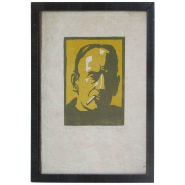 Smoking Man 1930's Woodcut Print