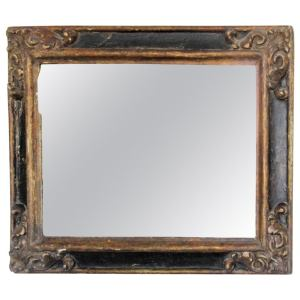 18th C. Spanish Baroque Gilt Polychrome Carved Frame with Mirror