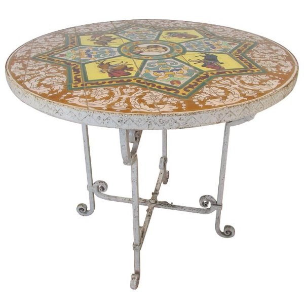 Antique Spanish Iron Table with Pictorial Decorated Tile Top