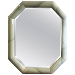 Marbleized Lacquered Octagon Mirror in the style Karl Springer