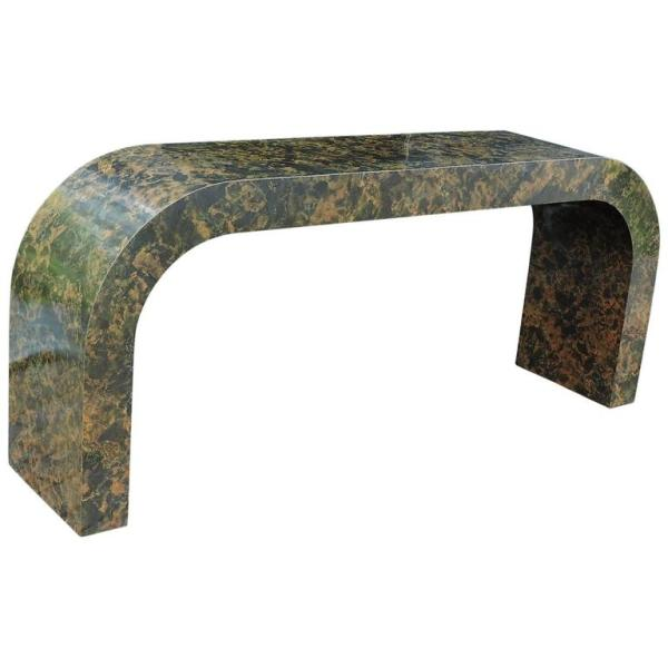 Karl Springer Style Faux Tortoise Marbleized Console Table