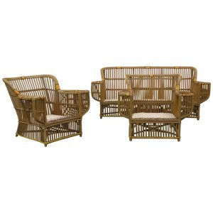 Classic American Art Deco Stick Wicker Sofa and Chairs
