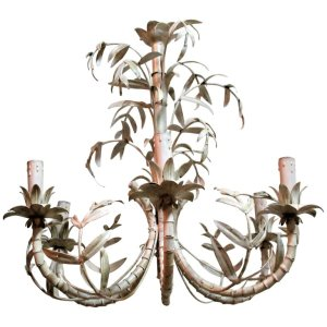Tole Painted Metal Bamboo Chandelier