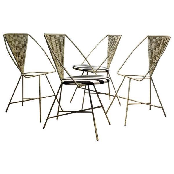 Iron & Wicker Chairs by Arthur Umanoff