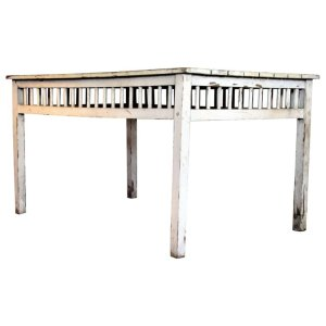 Old White Painted Rustic Country Cottage Table