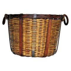 Antique American Wicker, Oak and Metal Basket