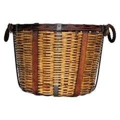 Antique American Wicker, Oak and Metal Basket