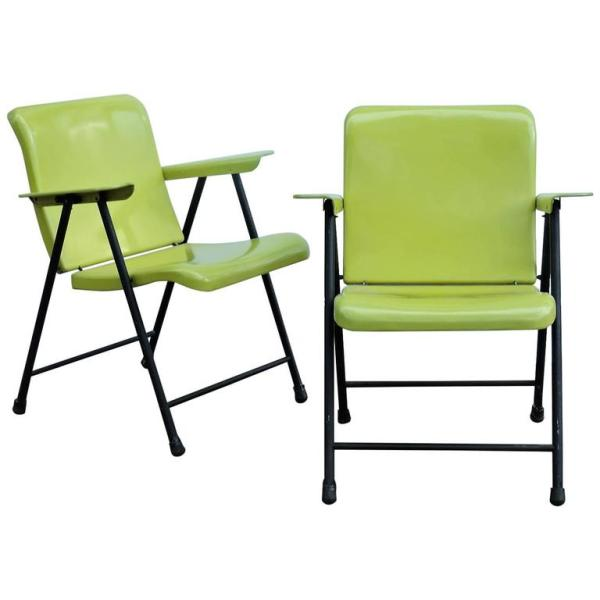 1940's Russel Wright Folding Metal Armchairs for Samsonite