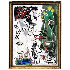 Primitive Abstract Expressionist Painting by Zoute - 1944