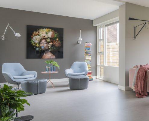 Gerealiseerde woonkamer in pastelkleuren