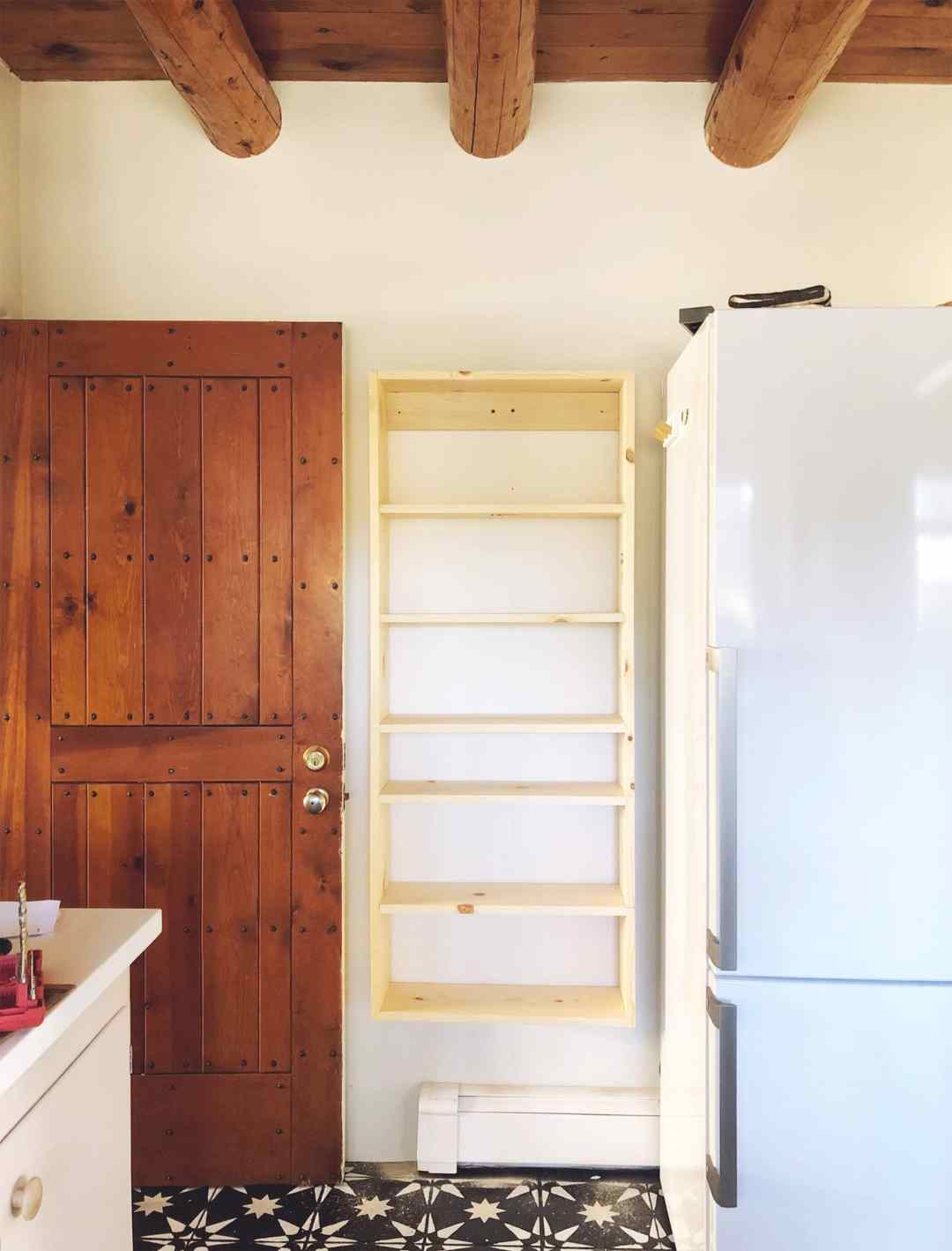 Kitchen - open wall shelving
