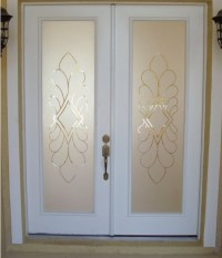 Etched glass panels design for entry doors
