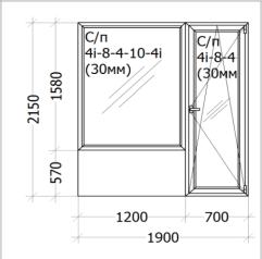 Цена - 705$ - Дверь на балкон с окном