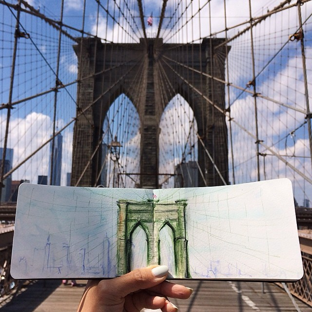 Brooklyn-Bridge-NY-by-Hannah-Koh-painted-with-Coffee