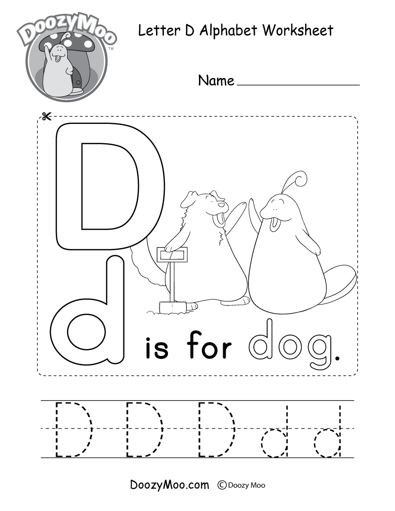 Cute Uppercase Letter D Coloring Page Free Printable Doozy Moo