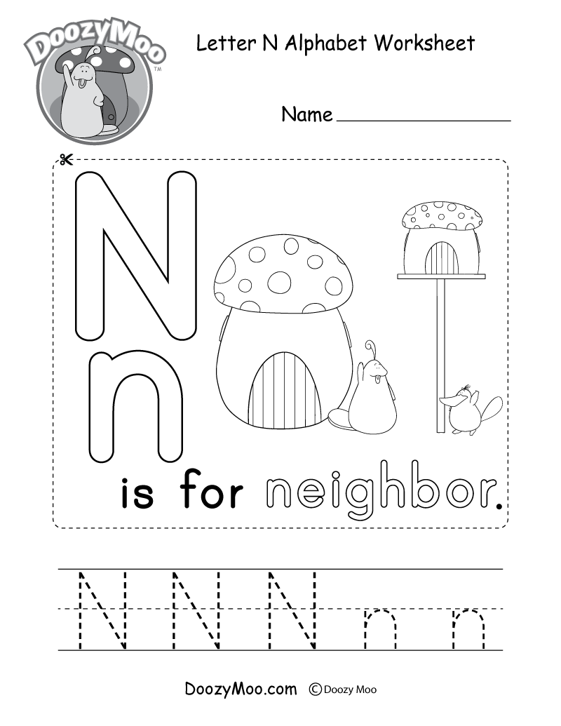 Letter N Alphabet Activity Worksheet