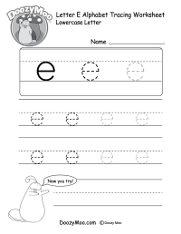 Uppercase Letter E Tracing Worksheet - Doozy Moo