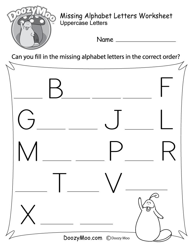Missing Alphabet Letters Worksheet (Free Printable