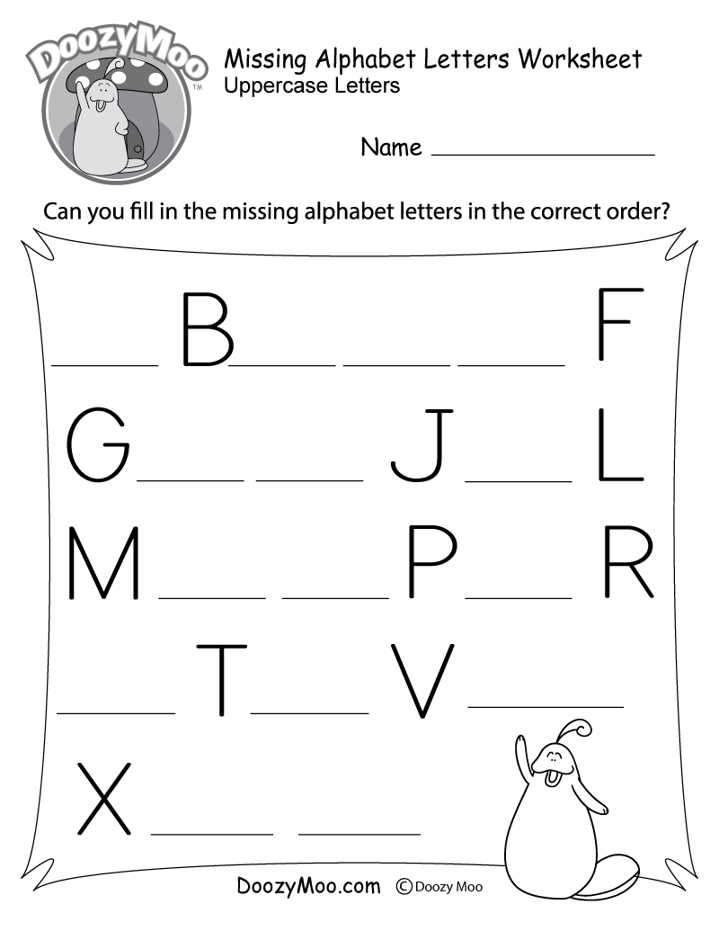 hight resolution of Missing Letter Worksheets (Free Printables) - Doozy Moo