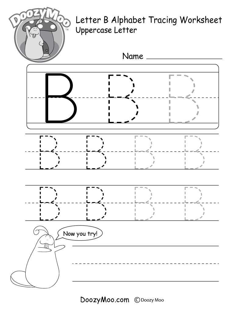 hight resolution of Uppercase Letter B Tracing Worksheet - Doozy Moo