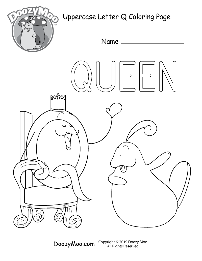 Cute Uppercase Letter Q Coloring Page (Free Printable